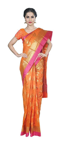 VFCOLLECTIONS Orange Color Banaras Pattu Silk Jewelry Butta All-Over With Blouse Piece  - VFCollections102