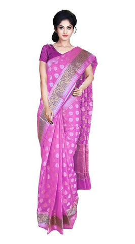 VFCOLLECTIONS Light Pink Color Banaras Pattu Cotton Silk Saree - Butta All-Over With Blouse Piece  - VFCollections103