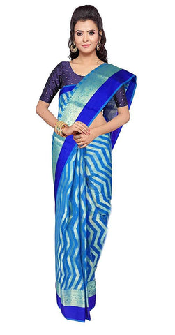 VFCOLLECTIONS Sky Blue Color Banaras Pattu Cotton Silk Saree - Wave Butta All-Over With Blouse Piece  - VFCollections105