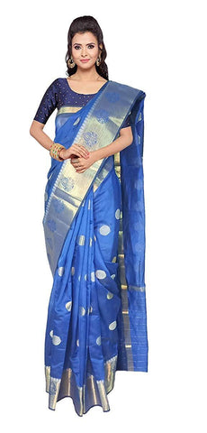 VFCOLLECTIONS Blue Color Banaras Pattu Cotton Silk Saree - Round Butta All-Over With Blouse Piece  - VFCollections106