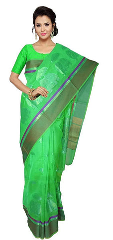 VFCOLLECTIONS Parrot Green Color Banaras Pattu Cotton Silk Saree - Elephant Butt Border With Blouse Piece  - VFCollections107