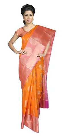 VFCOLLECTIONS Orange Color Banaras Pattu Cotton Silk Saree - Round Chakra Butta All-Over With Blouse Piece  - VFCollections109