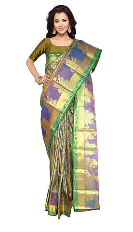VFCOLLECTIONS Multi Color Kanchipuram Pattu Silk Saree - Antic Border With Blouse Piece  - VFCollections110