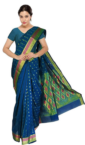 VFCOLLECTIONS Blue Color Banaras Pattu Cotton Silk Saree - With Running Blouse Piece  - VFCollections113