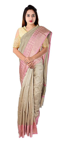 VFCOLLECTIONS Beige Color Kuppadam Cotton Silk Sarees - Antic Border With Blouse Piece  - VFCollections114