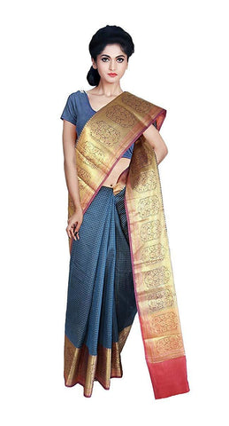 VFCOLLECTIONS Blue Color Banaras Pattu Cotton Silk Chex Saree - Antic Border With Blouse Piece  - VFCollections117