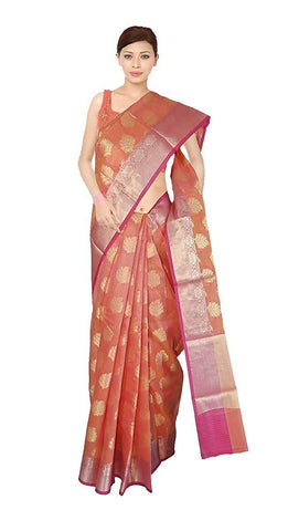 VFCOLLECTIONS Peach Color Banaras Pattu Cotton Silk Chex Saree - Antic Border With Blouse Piece  - VFCollections118