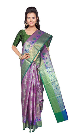 VFCOLLECTIONS Purple Color Kanchipuram Pattu Silk Saree - Flowers Butta With Blouse Piece  - VFCollections119