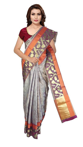 VFCOLLECTIONS Light Grey Color Banaras Pattu Cotton Silk Saree - Instrumental Border With Blouse Piece  - VFCollections120
