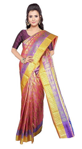 VFCOLLECTIONS Pink Color Kanchipuram Pattu Silk Saree - Flowers Butta With Blouse Piece  - VFCollections121