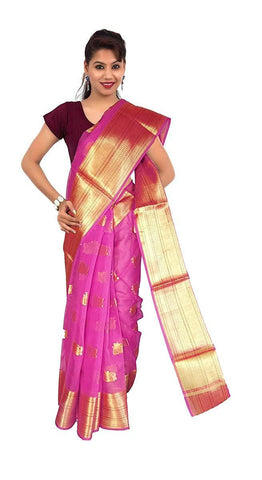 VFCOLLECTIONS Pink Color Banaras Pattu Cotton Silk Saree - Instrumental Border With Blouse Piece  - VFCollections123