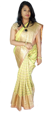 VFCOLLECTIONS Light Lemon Yellow Color Banaras Pattu Cotton Silk Saree - Antic Border With Blouse Piece  - VFCollections125
