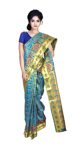 VFCOLLECTIONS Sky Blue Color Kanchipuram Pattu Silk Saree - Animals Butta With Blouse Piece  - VFCollections129