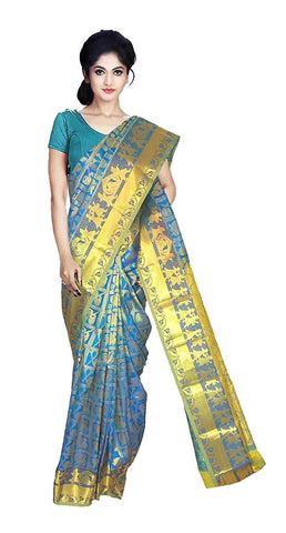 VFCOLLECTIONS Sky Blue Color Kanchipuram Pattu Silk Bridal Saree - Pallakilo Pellikuthuru Border With Blouse Piece  - VFCollections131