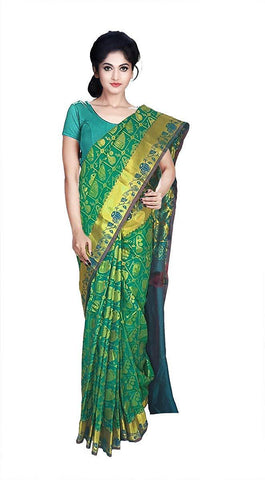 VFCOLLECTIONS Green Color Kanchipuram Pattu Silk Bridal Saree - instrumental Butta With Blouse Piece  - VFCollections132