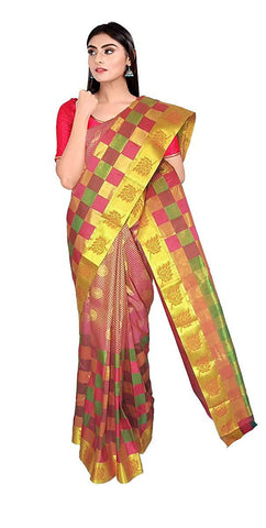 VFCOLLECTIONS Multi Color Kanchipuram Pattu Silk Bridal Saree - Half And Half With Blouse Piece  - VFCollections133