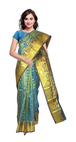 VFCOLLECTIONS Sky Blue Color Kanchipuram Pattu Silk Bridal Saree - Seetha With Golden Dear With Blouse Piece  - VFCollections134