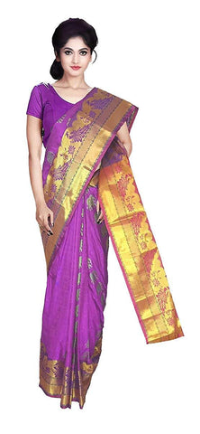 VFCOLLECTIONS Lavender Color Kanchipuram Pattu Silk Bridal Saree - Peacock Border With Blouse Piece  - VFCollections136