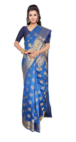 VFCOLLECTIONS Blue Color Banarasi Soft Silk Saree - Peacock Border With Blouse Piece  - VFCollections137