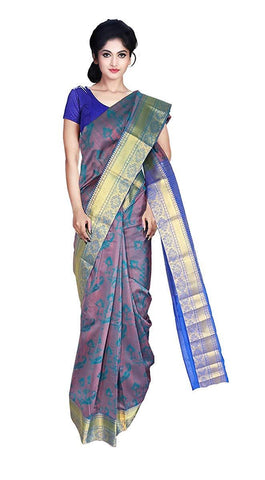 VFCOLLECTIONS Green Color Kanchipuram Pattu Silk Bridal Saree - Peacock Border With Blouse Piece  - VFCollections138