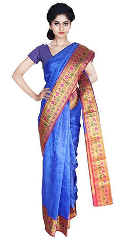 VFCOLLECTIONS Blue Color Kanchipuram Pattu Silk Bridal Saree - Antic Border With Blouse Piece  - VFCollections140