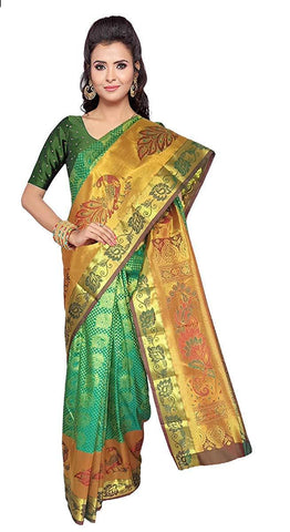 VFCOLLECTIONS Green Color Kanchipuram Pattu Silk Bridal Saree - Large Peacock Border With Blouse Piece  - VFCollections141
