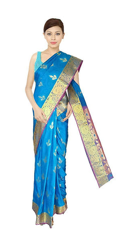 VFCOLLECTIONS Blue Color Kanchipuram Pattu Silk Bridal Saree - Leaf Butta With Blouse Piece  - VFCollections142