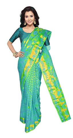 VFCOLLECTIONS Green Color Kanchipuram Pattu Silk Bridal Saree - Large Leaf Border With Blouse Piece  - VFCollections143