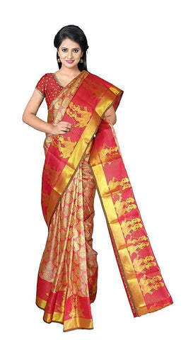 VFCOLLECTIONS Red Color Kanchipuram Pattu Silk Bridal Saree - Doll's Border With Blouse Piece  - VFCollections145