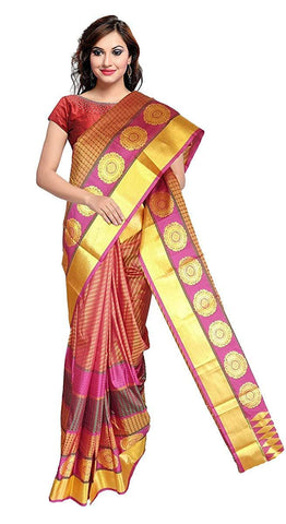 VFCOLLECTIONS Red Color Kanchipuram Pattu Silk Bridal Saree - Double Border With Blouse Piece  - VFCollections148