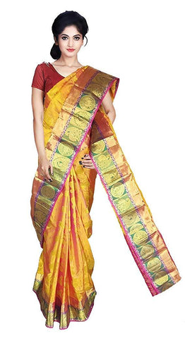 VFCOLLECTIONS Gold Color Kanchipuram Pattu Silk Bridal Saree - Antic Border With Blouse Piece  - VFCollections149
