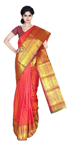 VFCOLLECTIONS Pink Color Kanchipuram Pattu Silk Bridal Saree - Antic Border With Blouse Piece  - VFCollections150