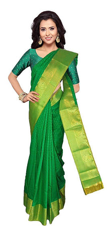 VFCOLLECTIONS Green Color Kanchipuram Pattu Silk Bridal Saree - Antic Border With Blouse Piece  - VFCollections151
