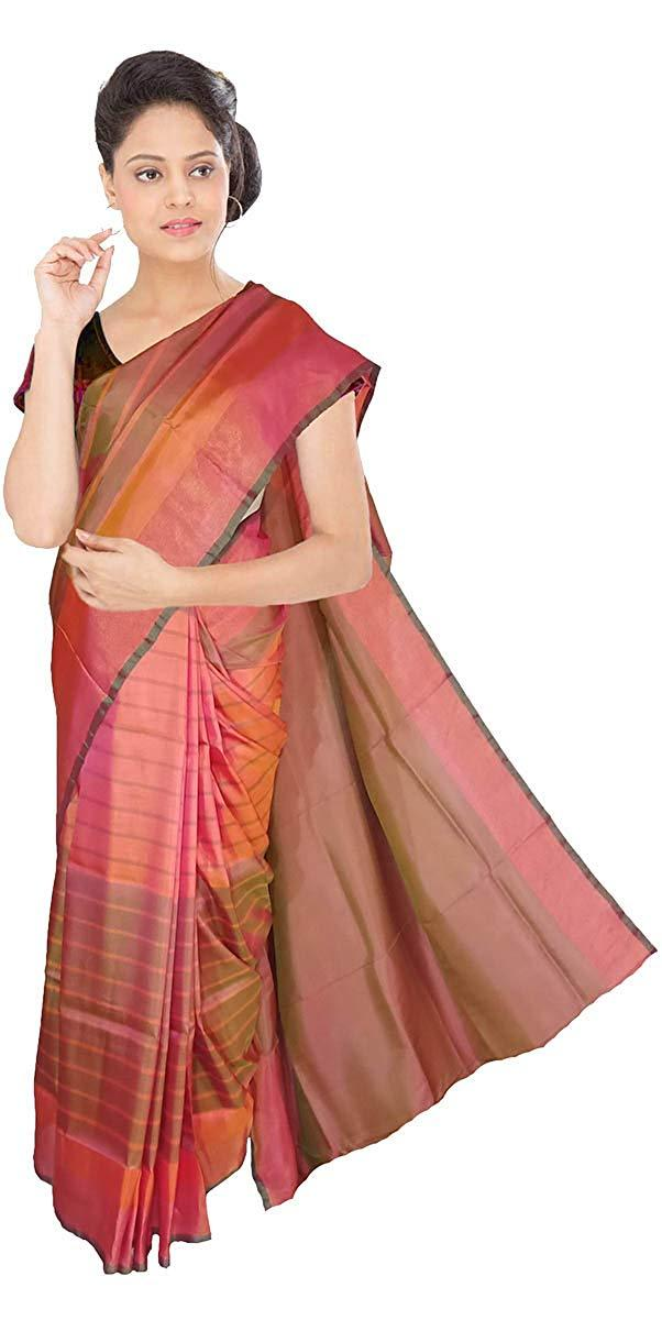 9c4e976e8c14e6 Buy VFCOLLECTIONS Multi Color Pochampally Ikkat Pattu Silk Saree - Lines  All Over With Blouse Piece