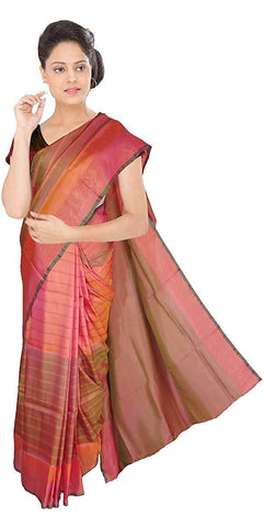 VFCOLLECTIONS Multi Color Pochampally Ikkat Pattu Silk Saree - Lines All Over With Blouse Piece  - VFCollections153