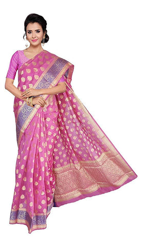 VFCOLLECTIONS Light Pink Color Banarasi Soft Silk Saree - Flowers Border With Blouse Piece  - VFCollections154