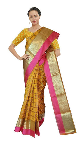 VFCOLLECTIONS Yellow Color Banarasi Cotton Silk Pattu Saree - Instrumental Border With Blouse Piece  - VFCollections158