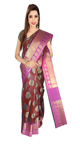 VFCOLLECTIONS Maroon Color Banarasi Cotton Silk Pattu Saree - Chakra Border With Blouse Piece  - VFCollections159
