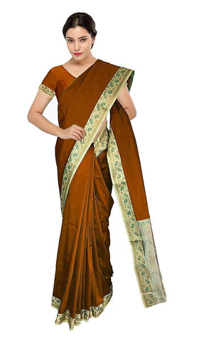 VFCOLLECTIONS Brown Color Kashmir Malai Silk Saree - Flowers Border With Blouse Piece  - VFCollections160
