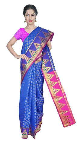 VFCOLLECTIONS Blue Color Banarasi Cotton Silk Pattu Saree - Antic Border With Blouse Piece  - VFCollections163