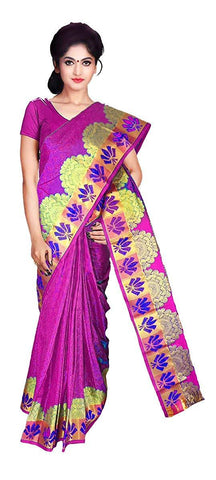 VFCOLLECTIONS Pink Color Kanchipuram Pattu Silk Saree - Antic Border With Blouse Piece  - VFCollections165