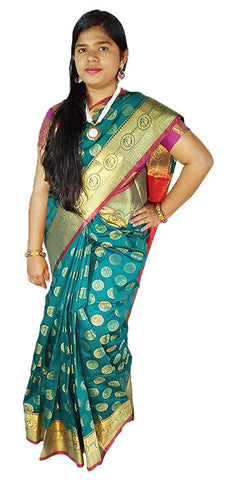 VFCOLLECTIONS Sea Green Color Kanchipuram Pattu Cotton Saree - Antic Border With Blouse Piece  - VFCollections166
