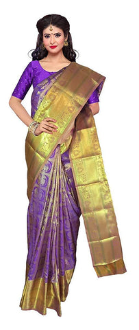 VFCOLLECTIONS Purple Color Kanchipuram Pattu Silk Bridal Saree - Antic Border With Blouse Piece  - VFCollections170