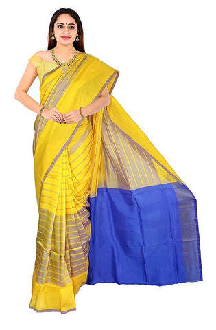 VFCOLLECTIONS Yellow Color Pochampally Ikkat Pattu Silk Saree - Chex All Over With Blouse Piece  - VFCollections174