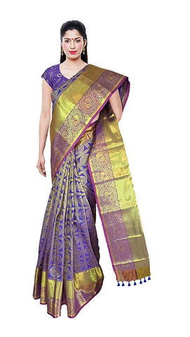 VFCOLLECTIONS Blue Color Kanchipuram Pattu Silk Bridal Saree - Large Border With Blouse Piece  - VFCollections181