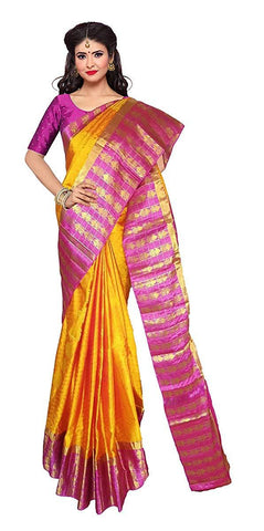 VFCOLLECTIONS Yellow Color Kanchipuram Pattu Pure Silk Bridal Saree - Royal Border With Blouse Piece  - VFCollections182