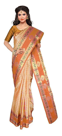 VFCOLLECTIONS Light Orange Color Kanchipuram Pattu Silk Bridal Saree - Antic Double Border With Blouse Piece  - VFCollections184