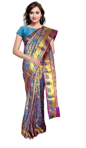 VFCOLLECTIONS Multi Color Kanchipuram Pattu Silk Bridal Saree - Antic Double Border With Blouse Piece  - VFCollections185