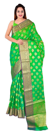 VFCOLLECTIONS Parrot Green Color Banarasi Pattu Pure Silk Saree - Flowers Border With Blouse Piece  - VFCollections187