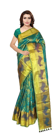 VFCOLLECTIONS Sea Green Color Kanchipuram Bridal Pattu Silk Saree - Peacock Border With Blouse Piece  - VFCollections189